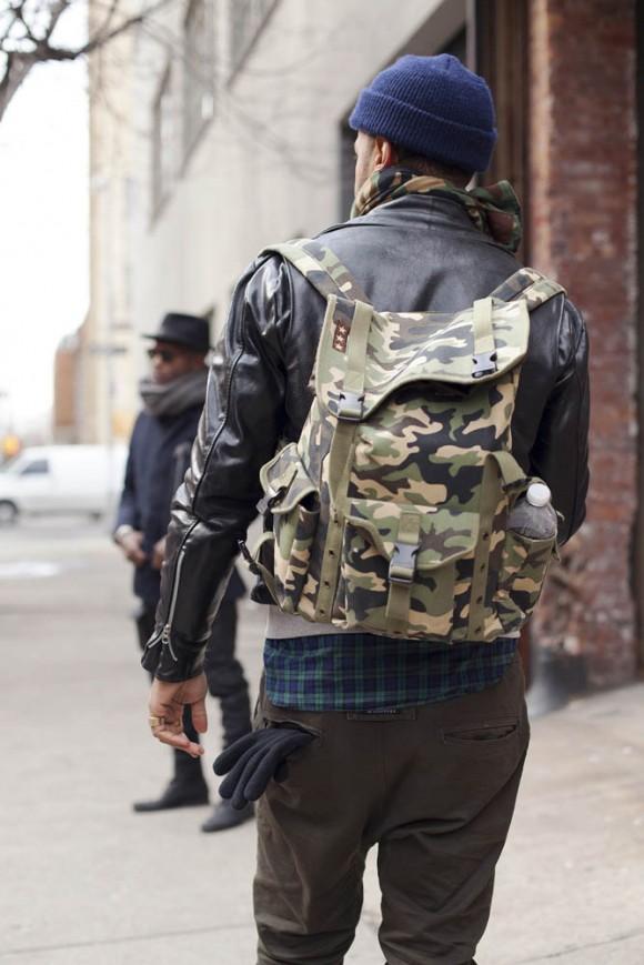 Camo backpack & leather jacket swag