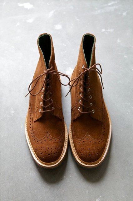 Chocolate Suede Brogue Boots