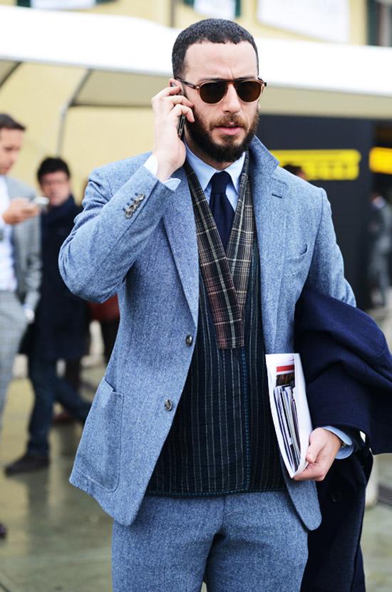 Cool blue wool suit pop collar