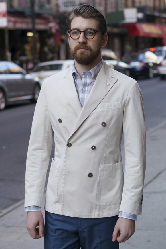 Double breasted cream jacket