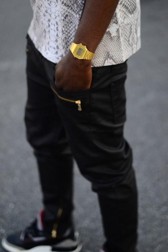 Drop crotch gold zip pocket leather pants