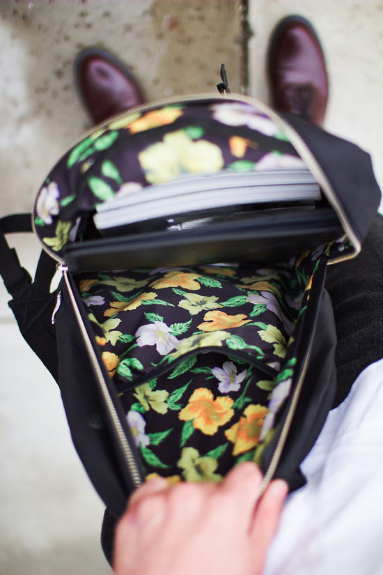 Floral lined backpack, men style | SOLETOPIA