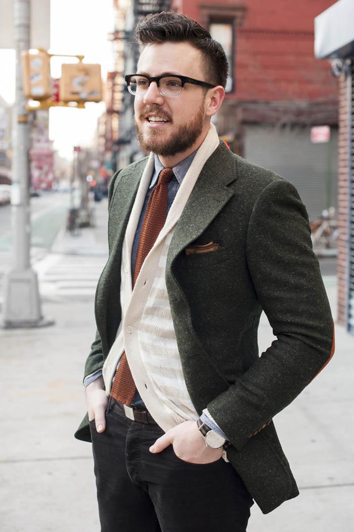 Green Tweed Coat - Black Coat
