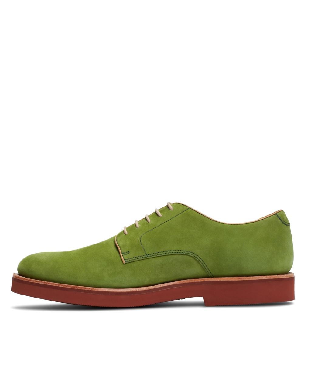 green suede nubuck brick sole derby