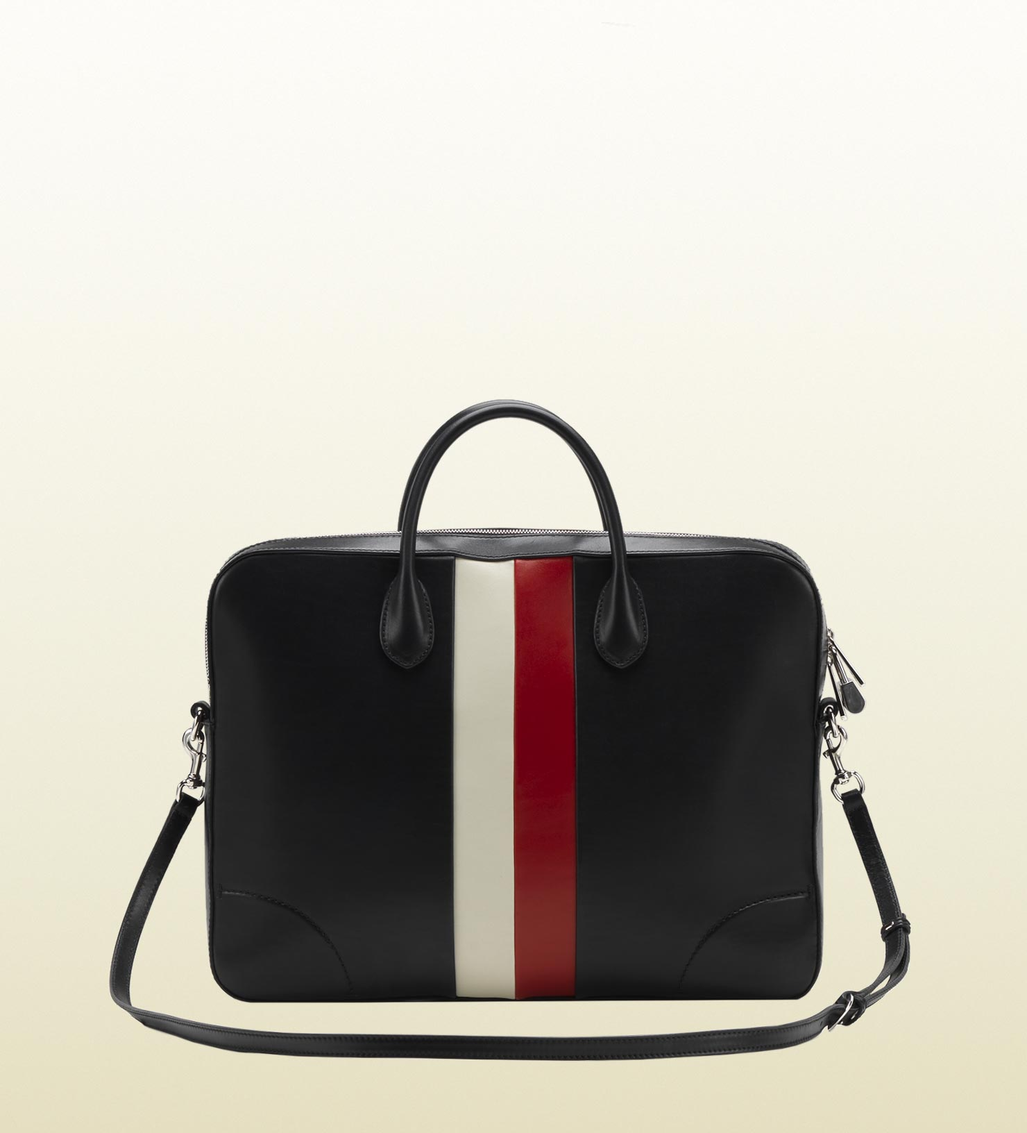 GUCCI men black leather briefcase red white 1