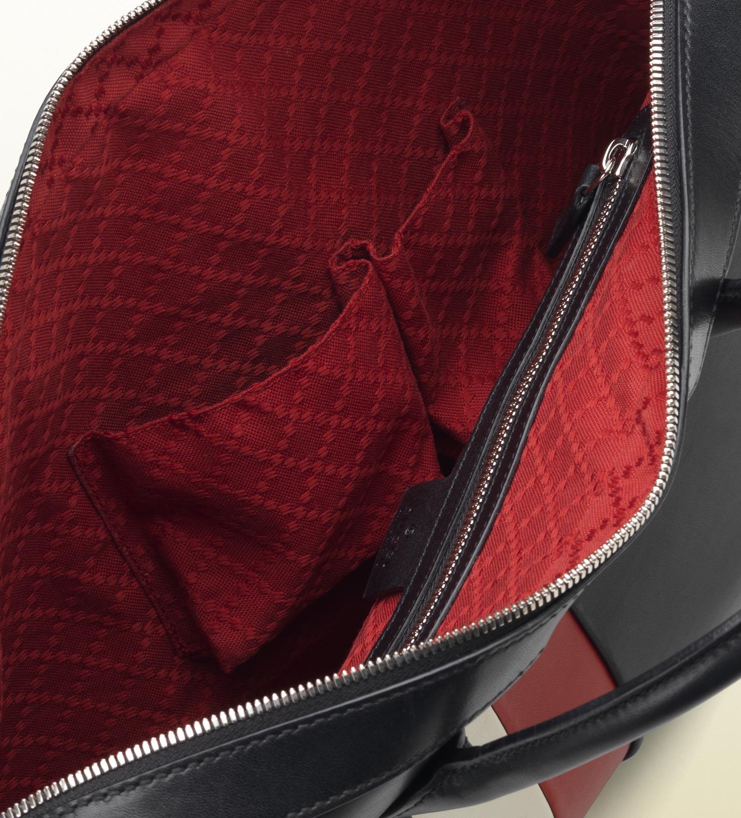 GUCCI men black leather briefcase red white 2