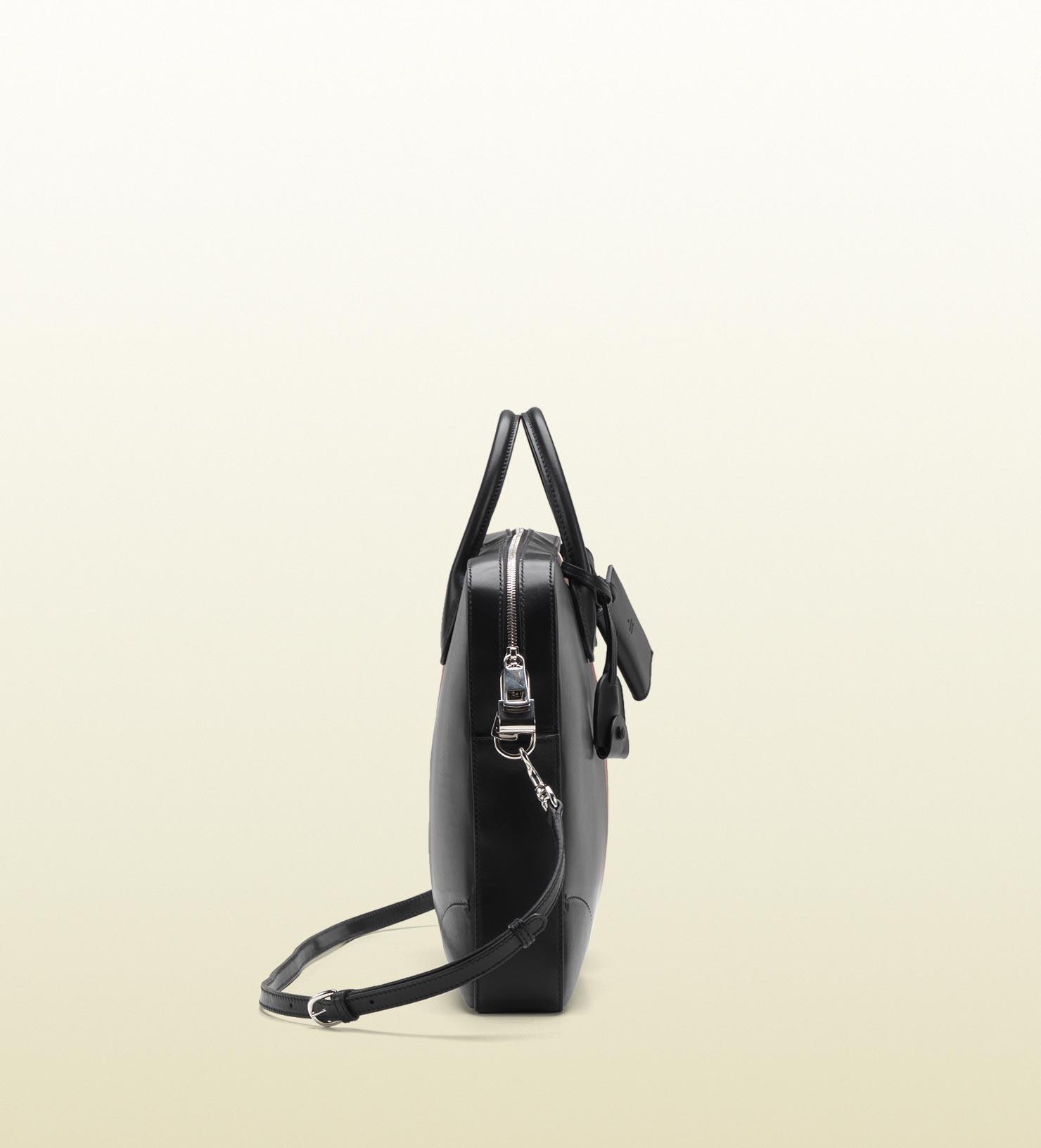 GUCCI men black leather briefcase red white 3