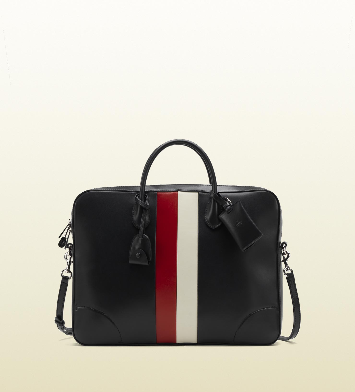 GUCCI men black leather briefcase red white 4