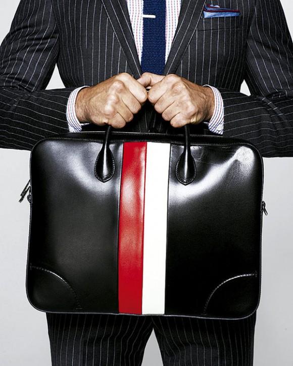 GUCCI men black leather briefcase red white
