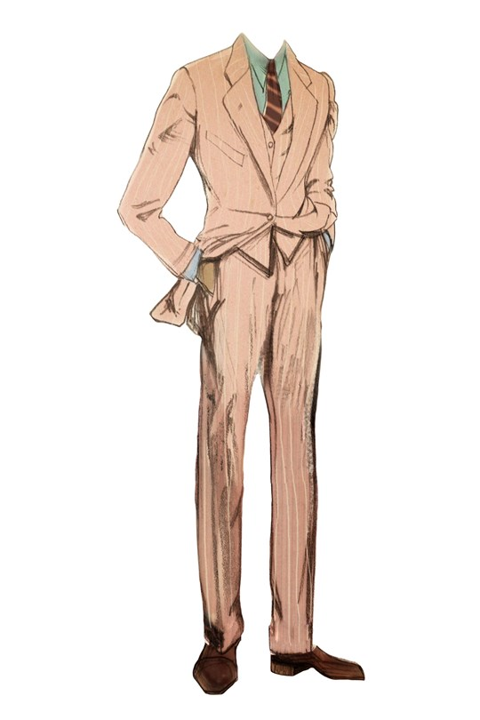 Jay Gatsby pink linen suit