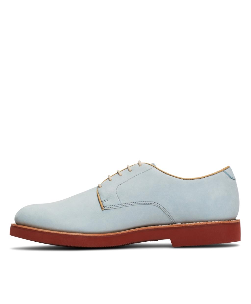 light blue nubuck derby shoes