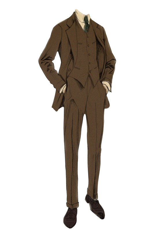 Nick Carraway tweed three piece suit