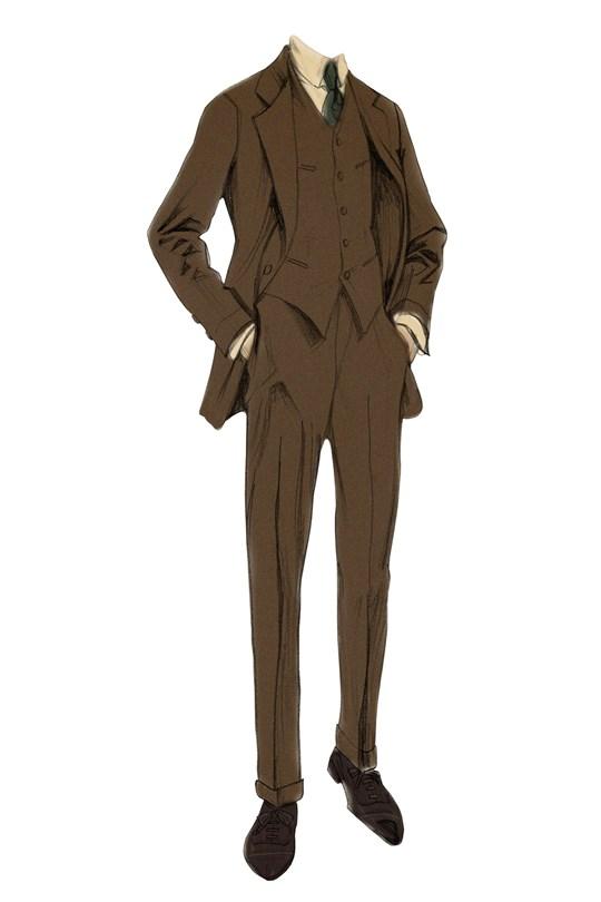 Nick Carraway tweed three piece suit