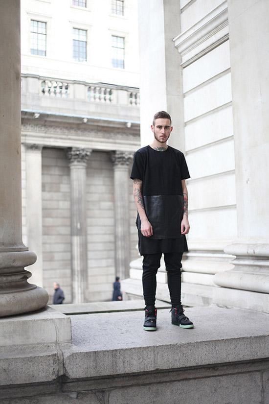 Oversize leather panel black shirt streetwear soletopia