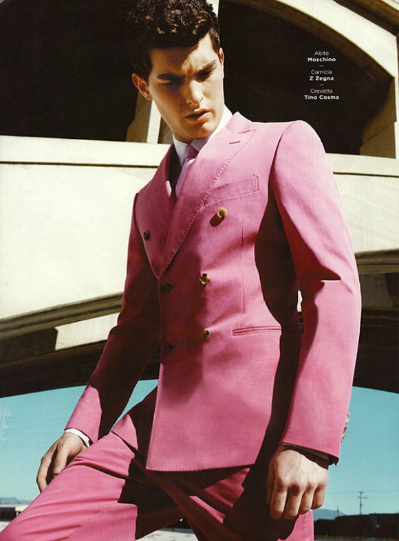 Pink Moschino Suit Men's Fashion