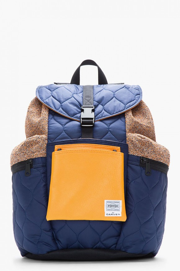 Porter x Carven Navy Blue Orange Quilted Backpack 1