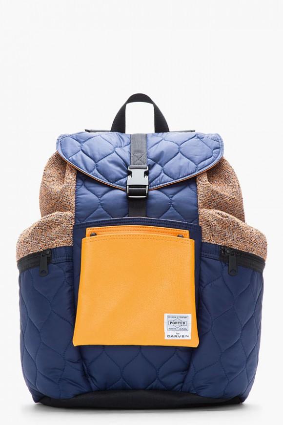 Porter x Carven Navy Blue Orange Quilted Backpack 1