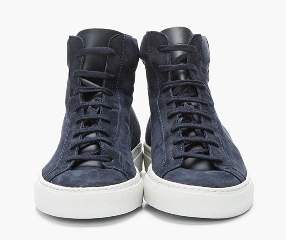 Robert Geller x Common Projects midnight blue nubuck 1639 hi sneakers 1