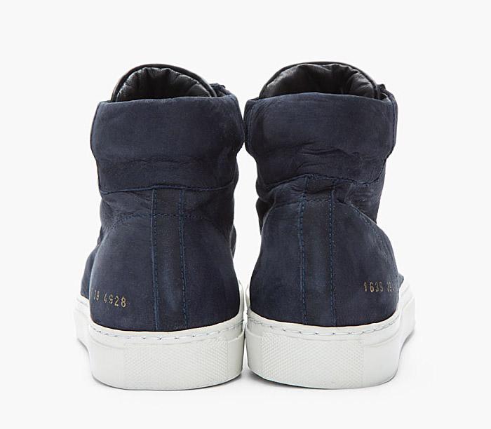 Robert Geller x Common Projects midnight blue nubuck 1639 hi sneakers 3