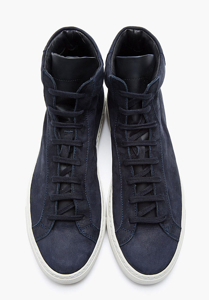Robert Geller x Common Projects midnight blue nubuck 1639 hi sneakers 4