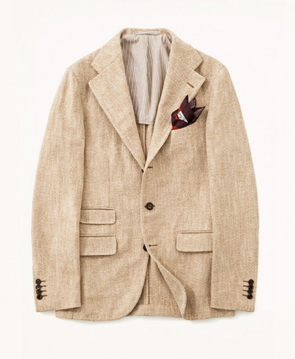 Salvatore Piccolo Beige Herringbone Jacket