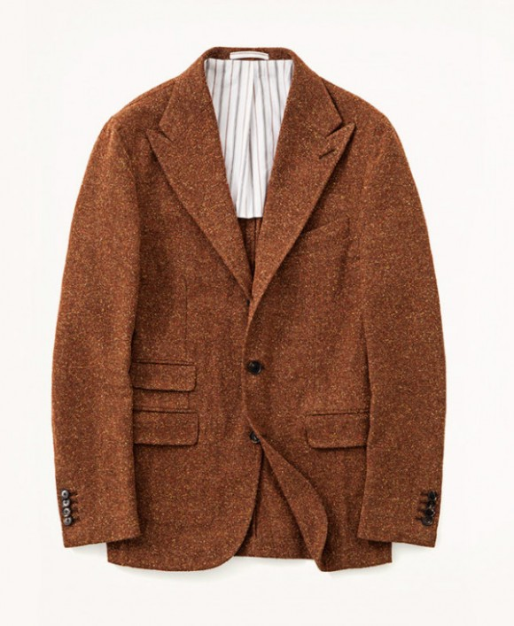 Salvatore Piccolo Brown Tweed Peaked Lapel Jacket