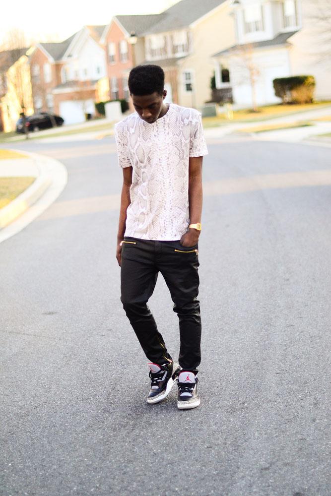 snakeskin shirt leahter pants jordan 3
