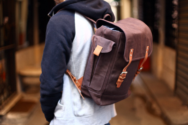 Soletopia Dapper Report taupe leather backpack baseball hoodie