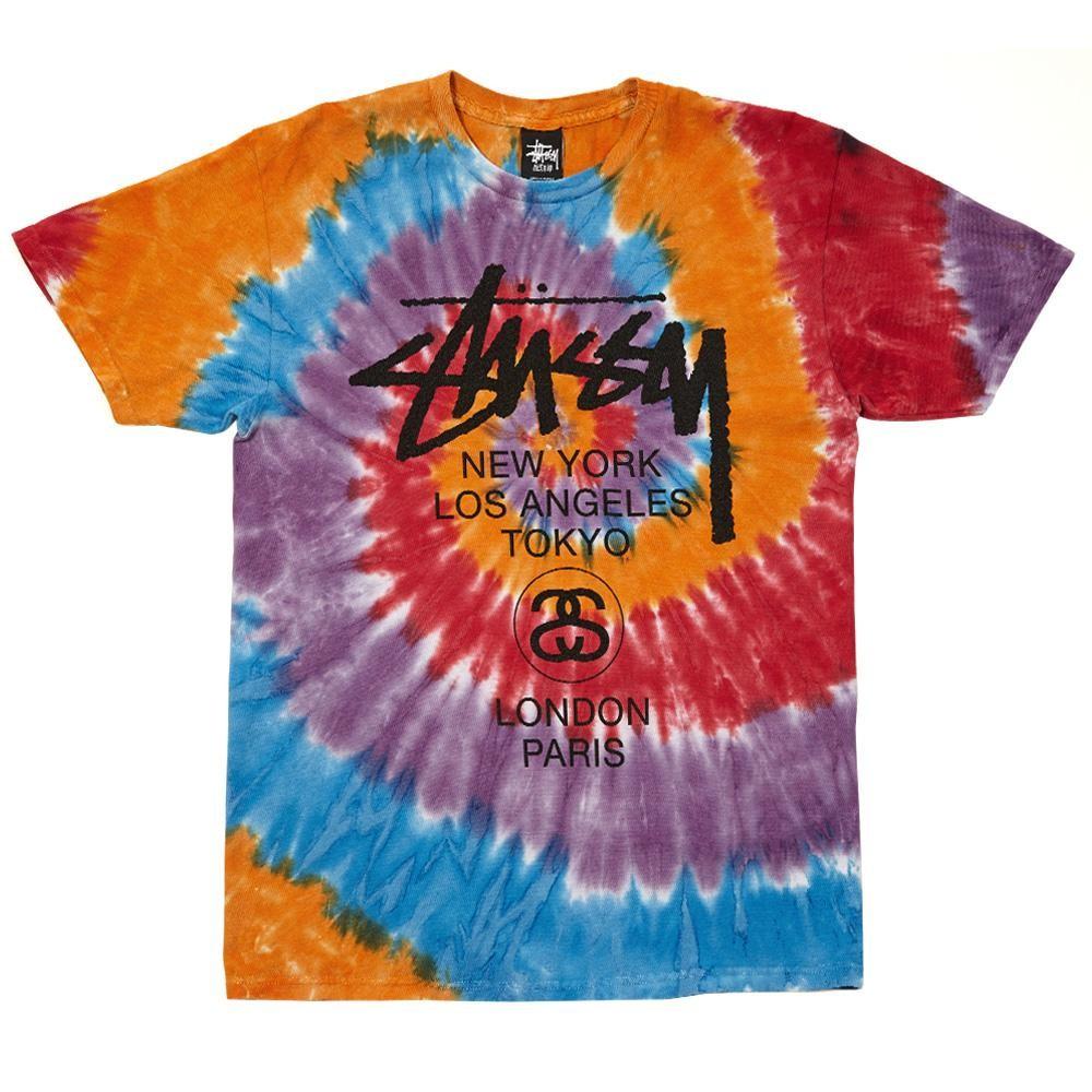 Stussy World Tour tie dye t-shirt multi orange