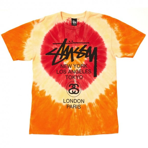 Stussy World Tour tie dye t-shirt orange