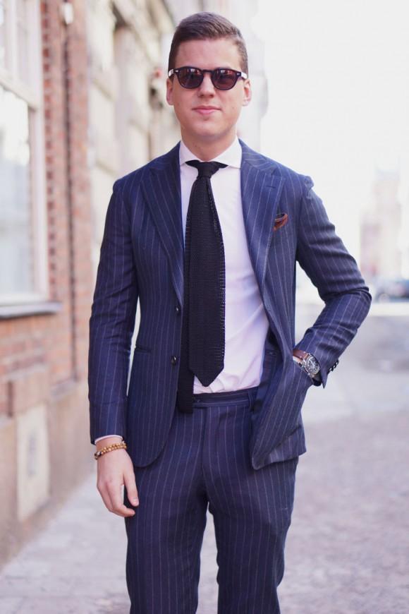 Sunday navy pin stripe suit bracelet knit tie