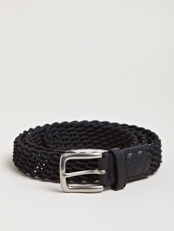 Black Elastic Rib Stitch Belt Yohji Yamamoto 1