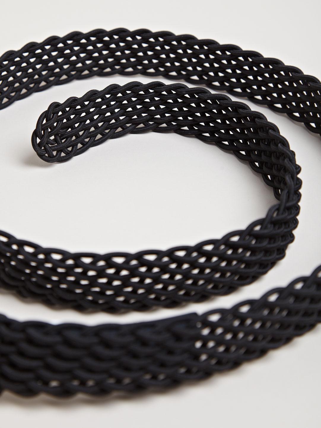 Black Elastic Rib Stitch Belt Yohji Yamamoto 3