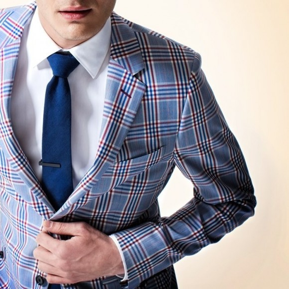 Blue Tri-Color Blanket Plaid Suit Jacket | SOLETOPIA