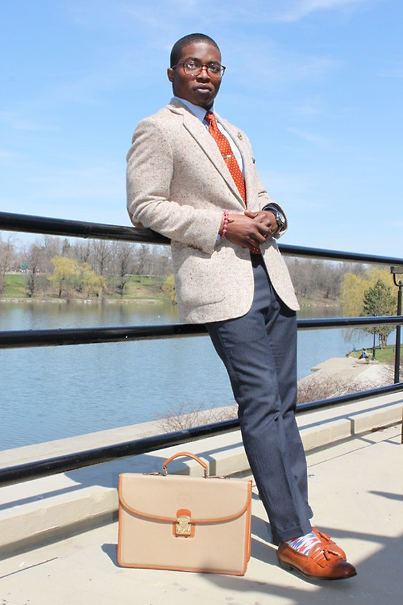 briefcase lean crazy socks loafers smart menswear