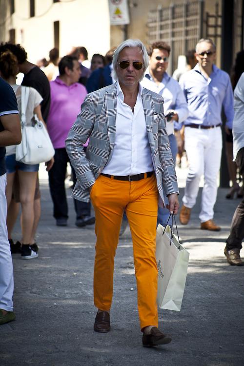 Bright Orange Pants x Grey Plaid Blazer | SOLETOPIA
