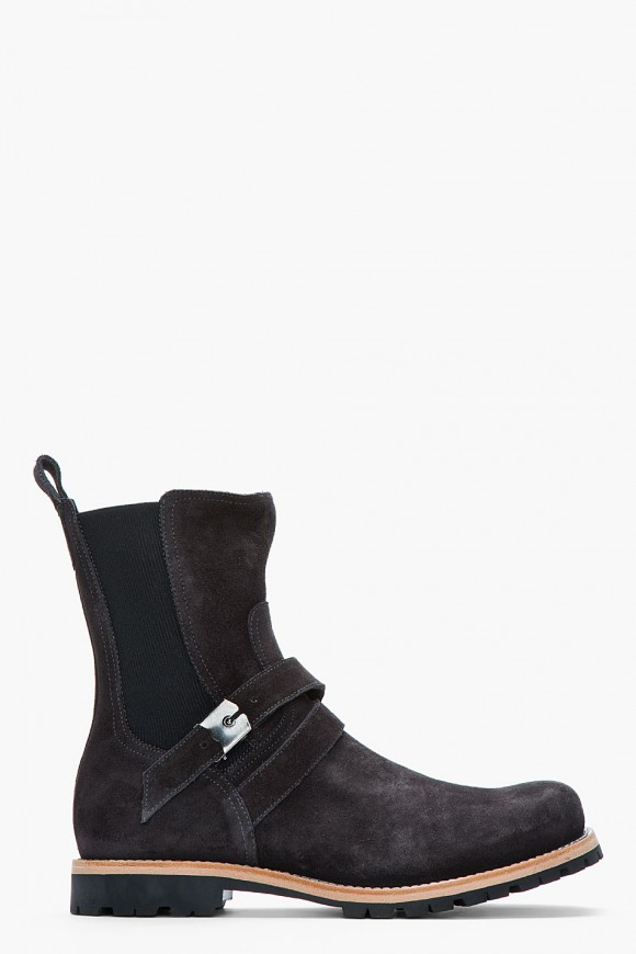 Charcoal Suede Commando Strap Boots