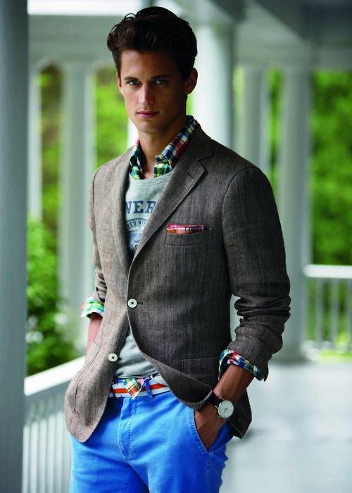 Colorfully layered rolled up sleeves blazer
