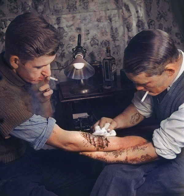 Colorized Tattoo Parlor Image from the '20s 1