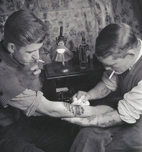 Colorized Tattoo Parlor Image from the '20s 2
