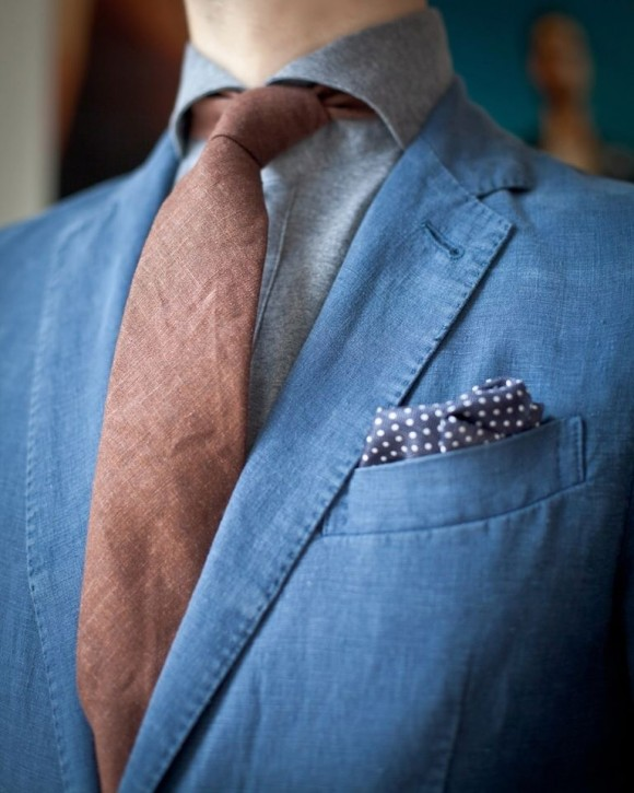 Fabric Details Suit & Tie, Polka Dot pocket square