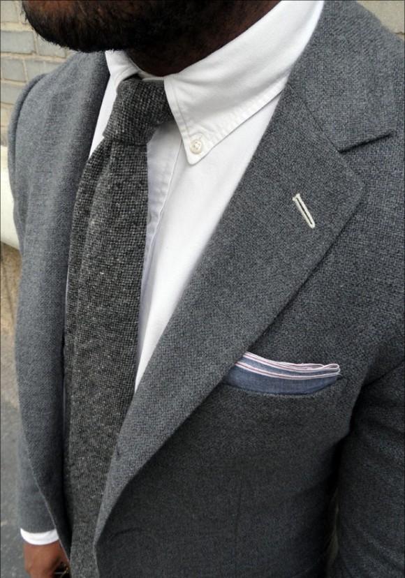 Full Grey Suit Suede Tassel Loafers 1