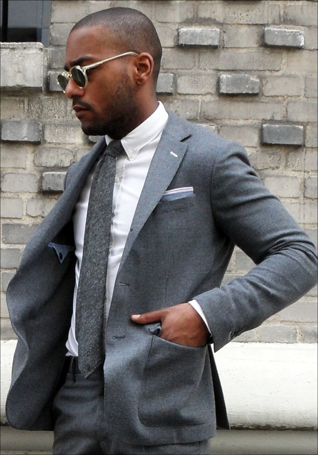 Full Grey Suit x Suede Tassel Loafers | SOLETOPIA