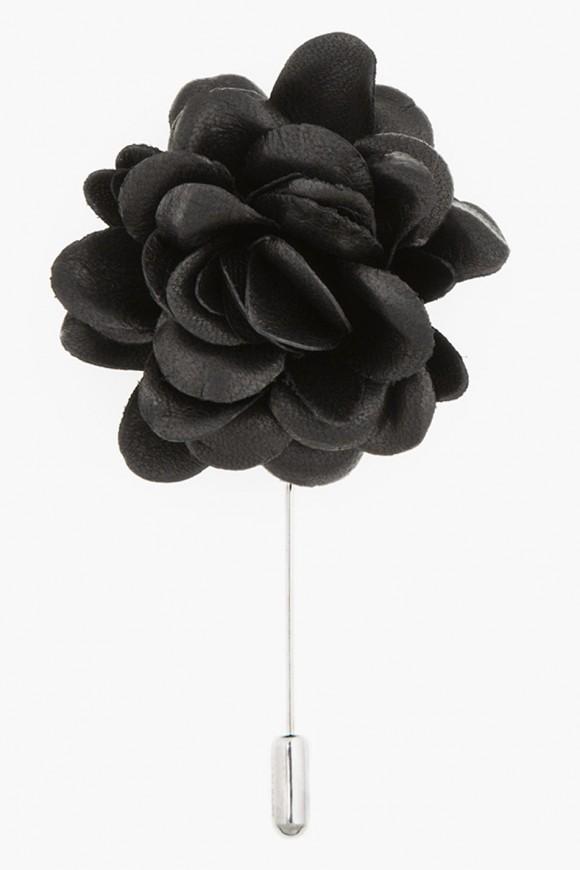Leather black rose tie pin LANVIN
