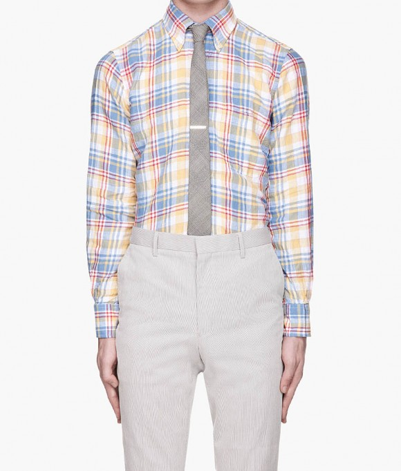 Madras Check Button Down Shirt, tie tucked into pants