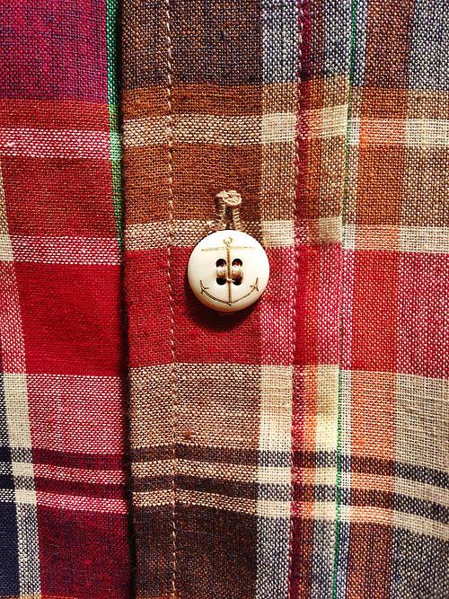 Matte Anchor Button on Indian Madras Shirt