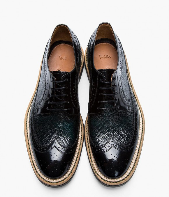 Shiny pebbled wingtip brogue, Paul Smith