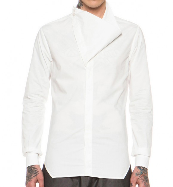Weird collar dress shirt Rick Owens Megacowl
