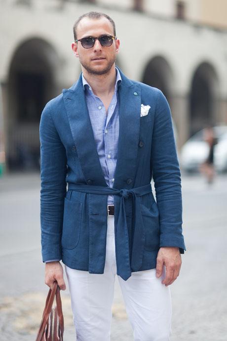 Double-breasted Blue Blazer waist belt