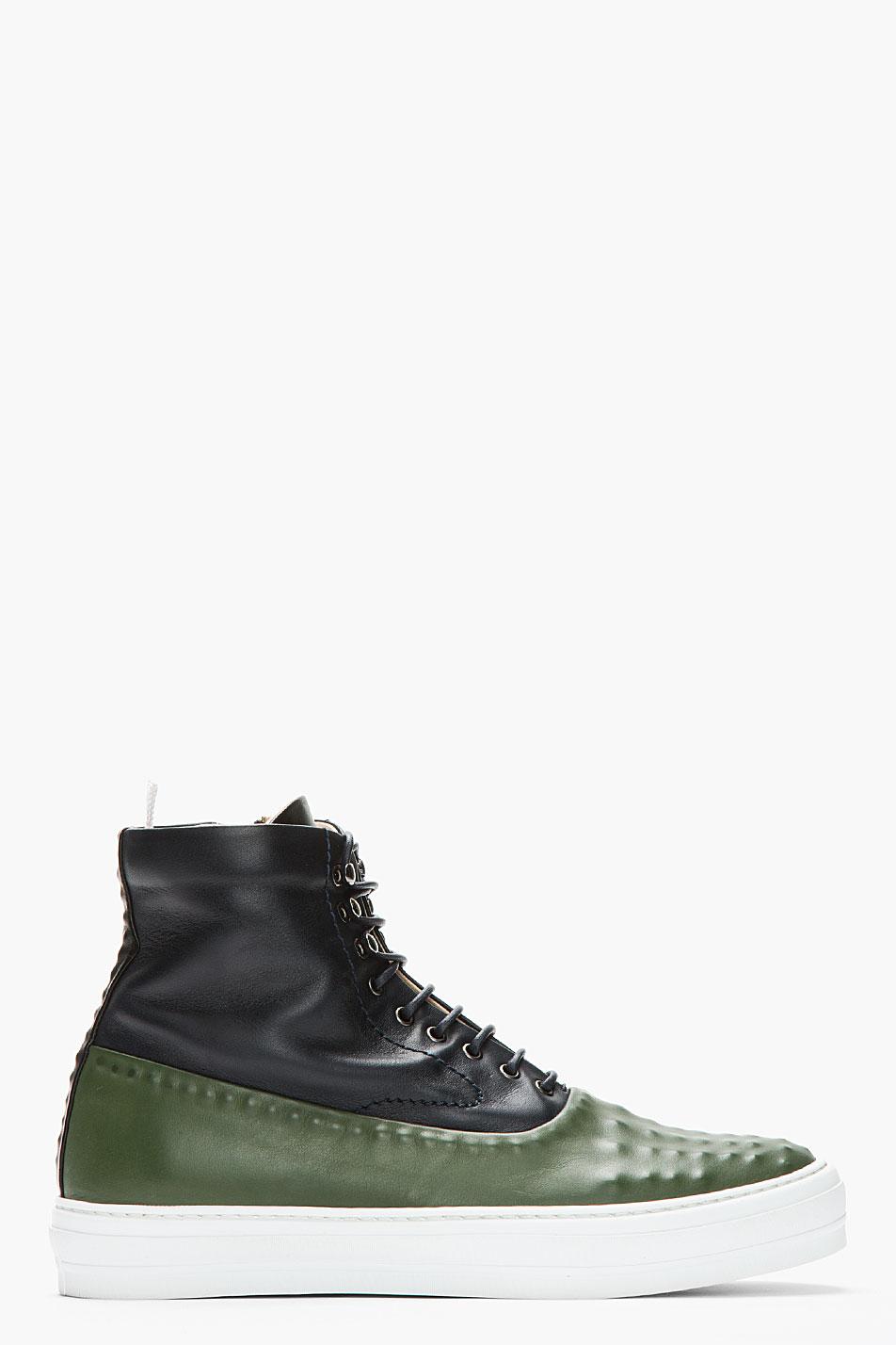 green navy Covered stud sneakers Alexander McQueen 2